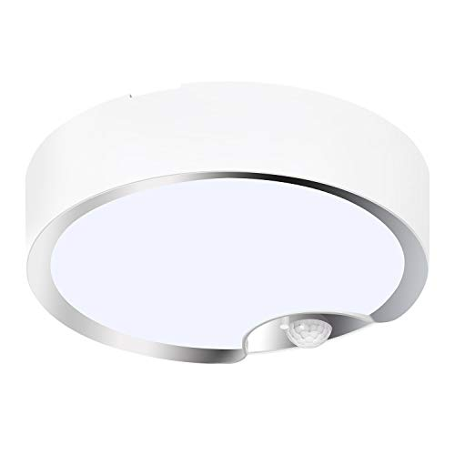 TOOWELL Motion Sensor Ceiling Light Battery Operated Indoor/Outdoor LED Ceiling Lights for Hallway Laundry Stairs Garage Bathroom 300LM White Photocell Sensor ON/Off Upgrade