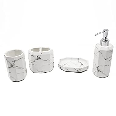 Bathpro Marble Style Bath and Shower Accessories ,4-PIECE Bath Ensemble,Bath Set Collection with Lotion/Soap Dispenser,Toothbrush Holder,Bath Tumbler,Soap Dish (White Marble)