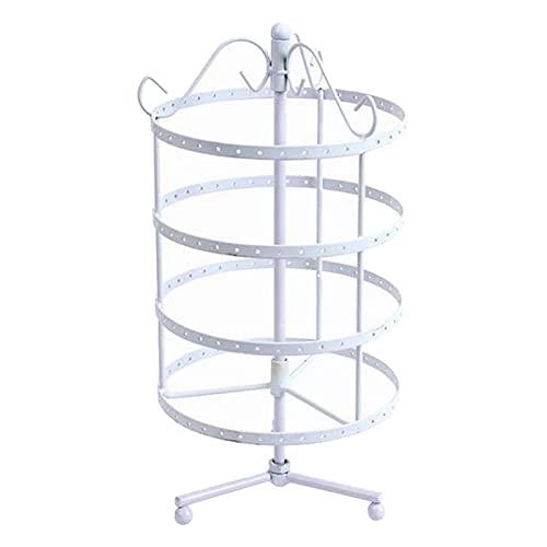 YANLINMY Organizador de Joyas Pantalla de Pendiente giratoria 144 Orificios de joyería Organizador Titular Torre Estante de árbol (Color : White)