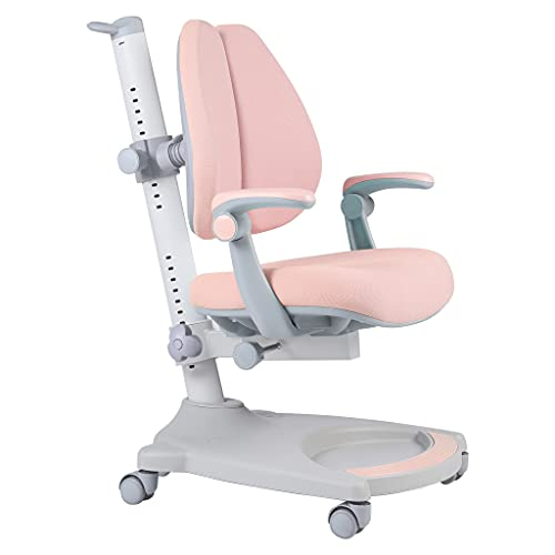 Ergonomic Kids Desk Chair, Child Children Student Study Office Chair, Adjustable Height and Seat Depth, W/Sit-Brake Casters and Lumbar Support, Non-Swivel Type (Pink+White)