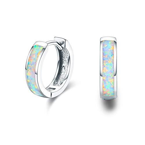 Damen Creolen Ohrringe,925 Sterling Silber Opal Ohrringe Kleine Creolen Kreis Ohrringe Kreolen Muttertag Geschenke für Tochter,Kinder,Mädchen