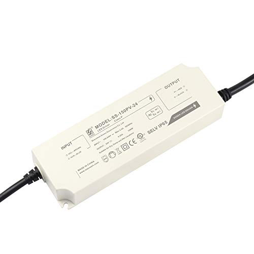 LIGHTEU®, alimentatore LED con trasformatore di Sosen - 150 W, 24 V DC, 6,25 A IP65 - Tensione costante per lampade a striscia LED e lampadine a LED G4, MR11, MR16