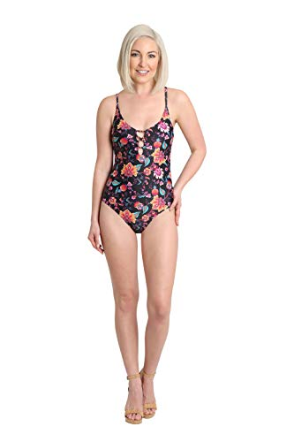 Nanette Lepore Womens Floral Print One-Piece Bathing Suit Swimsuit Black 4