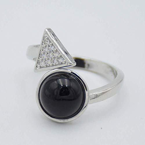 Decorative ring Open Ring For Women,Adjustable Vintage Black Agates Stone Triangle Zircon Ring Unisex Silvery Jewelry Gifts For Weddings Prom Birthday Anniversary Promise Ring