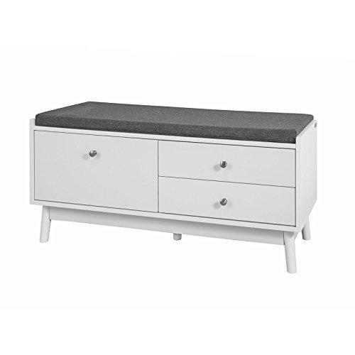 SoBuy® FSR56-W Sitzbank Garderobenbank in weiß mit Sitzkissen Bettbank Schuhschrank mit DREI Schubladen, BHT ca.: 100x49x40cm