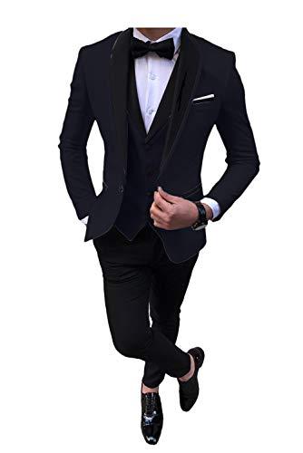 Men's Tuexedo 3 Pieces Slim Fit Notched Lapel Single Breasted Plaid Formal Suit Dark Navy