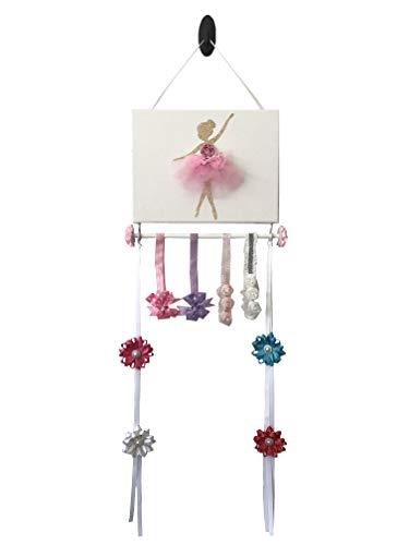 Bead&Cord Ballerina on 9'x12' Canvas Hair Bow and Baby Elastic Headband Hairband Organizer (Pink)