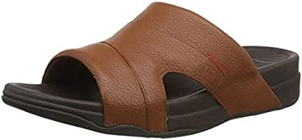 Fitflop Men's Freeway Pool Slide in Leather Open Toe Sandals