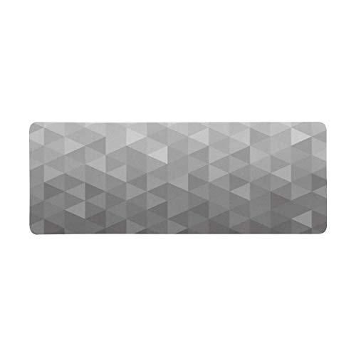 InterestPrint Soft Extra Extended Large Gaming Mouse Pad with Stitched Edges, Desk Pad Keyboard Mat, Non-Slip Base for Office & Home, 31.5 x 12In - Abstract Background Dark Geometric Triangle