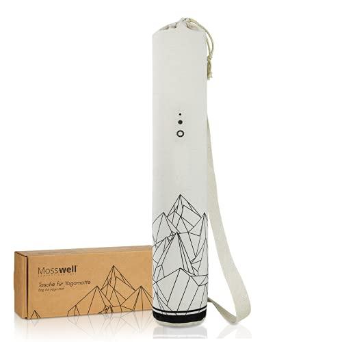 Mosswell® Yogatasche mit Design | Yogamattentasche aus Baumwolle | 70cm lang | mit Schultergurt
