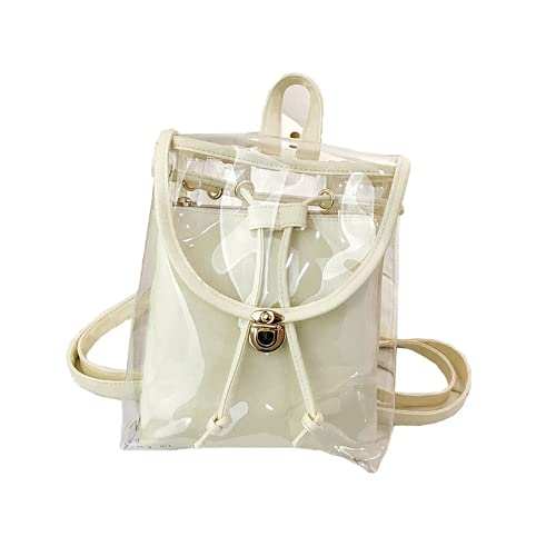 Summer New Sturdy PVC Transparent Backpack Ladies Fashion All-match Jelly Transparent Bag Travel Backpack (white,)