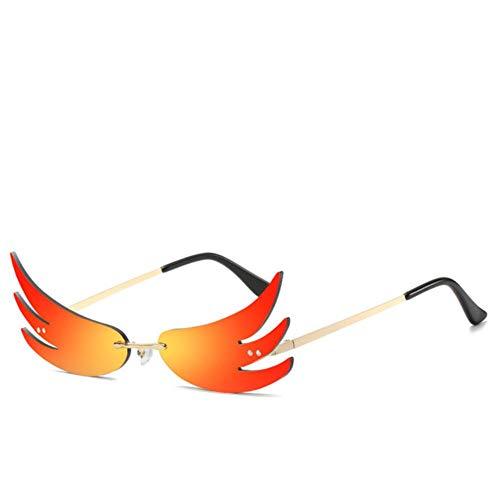 XMYNB Gafas Blu-ray Moda Fuego Llama Gafas De Sol Mujeres Hombres Onda Sin Montura Gafas De Sol Tras De Metal Para Mujeres Vintage Espejo Eyewear Uv400