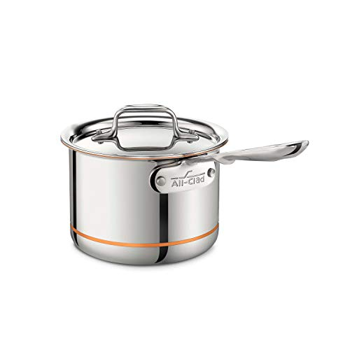 All-Clad 6202 SS Copper Core 5-Ply Bonded Dishwasher Safe Saucepan / Cookware, 2-Quart, Silver,8700800027