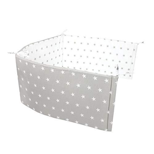 TupTam Babybett Kopfumrandung Nestchen Kurz Gemustert, Farbe: Sterne Grau, Größe: 180x30cm (für Babybett 120x60)