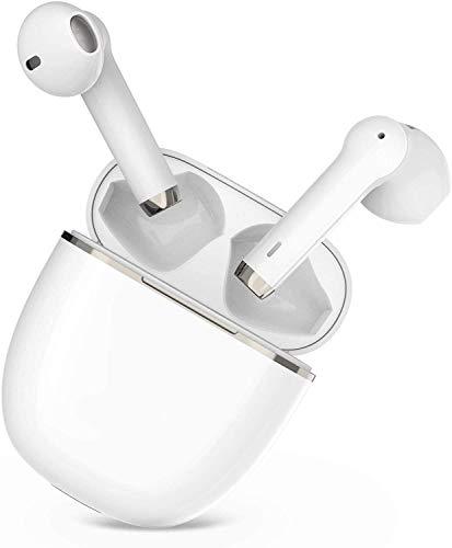 Auriculares Bluetooth 5.0 TWS i12 Seguridad estéreo 3D adecuados para Control táctil Auriculares inalámbricos Impermeables IPX5 para Trabajo y Deportes emparejamiento automático portátil Blanco