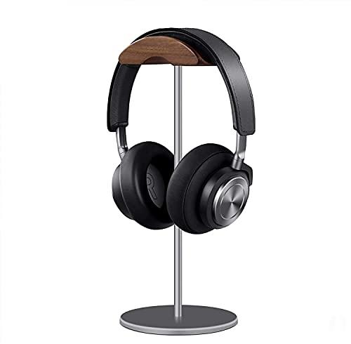 QinCoon Supporto per Cuffie, Porta Cuffie Legno di Noce e Alluminio, Stand Headset da Gaming Noce Naturale con Base Solida, Adatto a Cuffie di Tutte Le Dimensioni (Grigio)