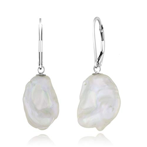 925 Sterling Silver Lever-back Earrings 13-15mm Coin Shape White Keshi Pearls Baroque Pearl Drop Earrings