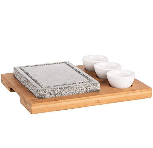 MÄSER 931758 Heißer Stein, Grillstein Set mit Naturgrillstein aus Granit, 3 Dipschalen und Bambus Holzplatte-Hot Stone Grill-perfekt für Steak, Fleisch und Fisch