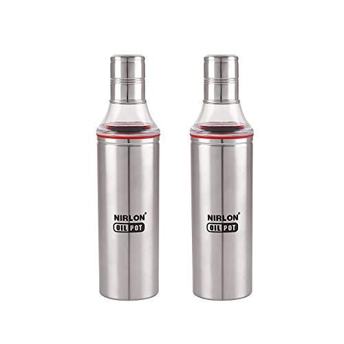 NIRLON Stainless Steel HIGH Durable Oil Dispenser Combo 1000 Milliliyters,Pack of 2,Silver