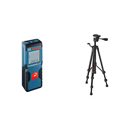 Bosch Professional Laser Entfernungsmesser GLM 30 (Ein-Knopf-Bedienung, max. Messbereich: 30 m; 2x 1,5-V Batterien, Schutztasche) & Baustativ BT 150 (55-157 cm, 1,5 kg, Stativ-Gewinde 1/4 Zoll)