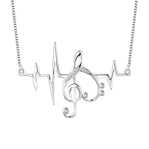 JO WISDOM Damen EKG Herzschlag Anhänger 925 Silber Frauen Notenschlüssel Kette mit Zirkonia