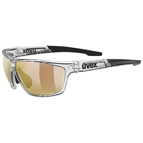 uvex Unisex– Erwachsene, sportstyle 706 CV V Sportbrille, kontrastverstärkend, selbsttönend, clear/red, one size