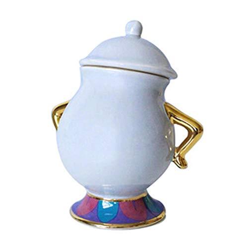 PULUKESns Nueva Taza De Tetera De Dibujos Animados De La Bella Y La Bestia De Estilo Blanco/Azul Sra. Potts Chip Tea Pot Cup One Set Lovely For Friend-_1_Pcs_Sugar_Bowl_Cup