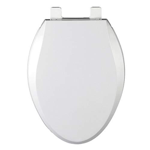 TOHOLOWW Verdickte WC-Sitz Gebogene Sitz Ring Slow Down Mute Vintage-WC WC-Abdeckung Buffer WC Brett Toilettenschüssel Deckel R&e Längliche Universal-Abdeckungen V-Shaped (Color : White)