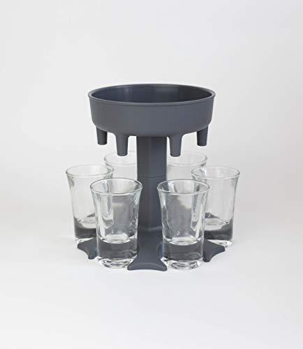 Shotbuddy® Original - Dein einzigartiger Trinkspaß - inkl. 6 Schnapsgläser - Ausgießer - Trinkspiel - Geschenkidee - Made in Germany - (grau)