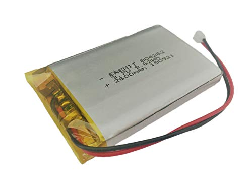 EREMIT Lithium Polymer LiPo Batterie Akku 2600mAh 3.7 V 1S PCB 804262 BMS JST PH 2.0 mm 23