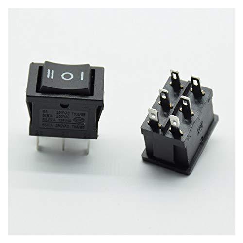 YSJJNDH Basculante Interruptor 5pcs Rocker Rocker Switch Interruptor de alimentación 6 pies 3 Engranaje 6A 250V Botón inverso Doble Polo Doble Tiro Negro Negro (Color : Black)