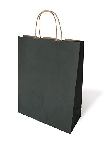 einfach-gut-kaufen Papiertaschen Schwarz gerippt 18 +8 x 22 cm VE 300 Stück