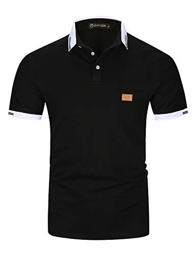 Casual Polos Manga Corta para Hombre Costura en Contraste Escote Camiseta Camisas Verano Primavera Deporte Golf Tennis T-Shirt Oficina