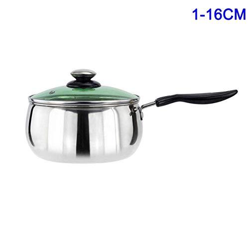 Marmite 1 Pcs cuisson en acier inoxydable Pot Marmite avec couvercle lait Casserole for cuisson 14,5/16/18/20/22 / 24cm, Style2 22Cm Huangwei7210 (Color : Style1 16cm)