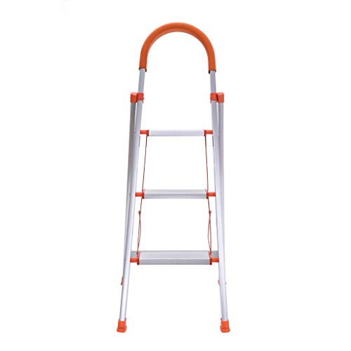 Folding 3-Step Aluminum Frame Stool Ladder Stepladder with Hand Grip and Plastic Steps, 330-Pound Capacity Household Tool[Ship from USA]
