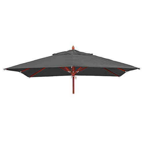 Mendler Bezug für Gastronomie Holz-Sonnenschirm HWC-C57, Sonnenschirmbezug Ersatzbezug, eckig 4x4m Polyester 3kg - anthrazit