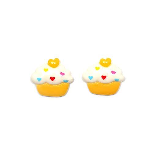 Idin Orecchini a clip - Cupcake bianco e giallo (ca. 19 x 17 mm)