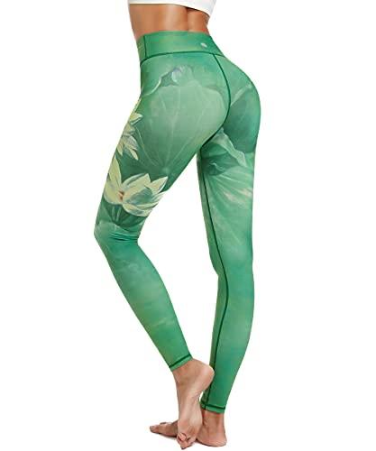 HAPYWER Yoga Leggings Damen High Waist Gym Sport Leggings Tummy Control Yoga Hosen Running Workout Kompressionsstrumpfhose Stretch Trainingshose mit Aufdruck(Lotos Grün,S)