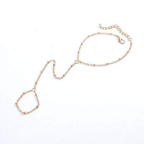 XKMY Pulsera para mujer, pulsera multicapa, cadena esclava, cuentas de eslabones entrelazados para los dedos, brazaletes de arnés de mano, color dorado y plateado para mujer (color metálico: oro)