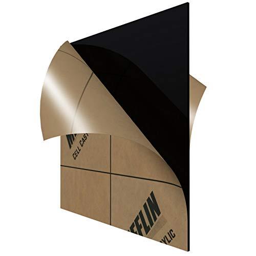 "MIFFLIN Cast Plexiglass Sheet (Opaque Black, 1 Piece, 12x12 Inch, 0.118"" (1/8 in) Thick), Acrylic Sheet, Plexi Glass, Plastic Sheet, Clear Plastic Sheet, Cast Acrylic Plexiglass 12 x 12"