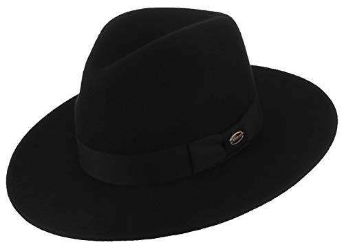 DEMU Dames Trilby vilten hoed wollen hoed wollen vilten hoed Trilbyhoed Fedora met ripsband herenhoed zwart