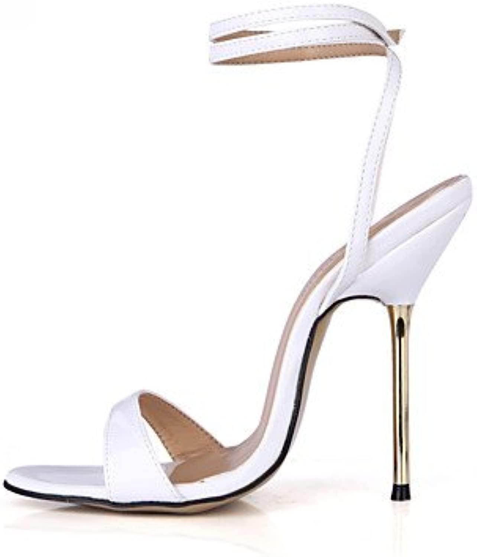Ligaosheng Da donna-Seali-Formale Serata e festa-Cinturino tuttia caviglia-A stiletto-PU (Poliuretano)-Blu Bianco Dorato Borgogna, bianca, us9.5-10 eu41 uk7.5-8 cn42