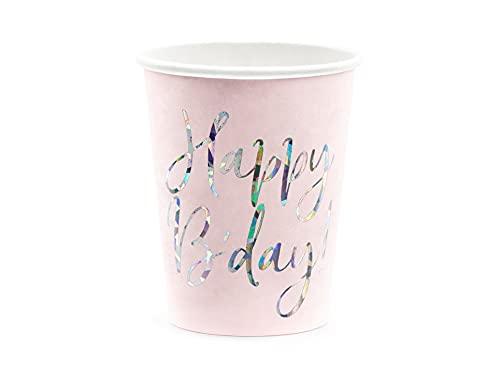 6 Gobelets - Happy Birthday Rose