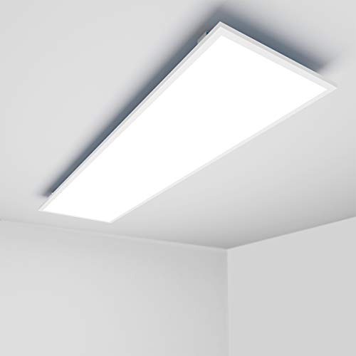OUBO LED Panel 120x30 Neutralweiß 4000K LED Deckenleuchte Ultraslim 36W 3500 Lumen Weißrahmen Wandleuchten für Küche, Keller, Büro, Flur, Labor, inkl. Trafo und Anbauwinkel