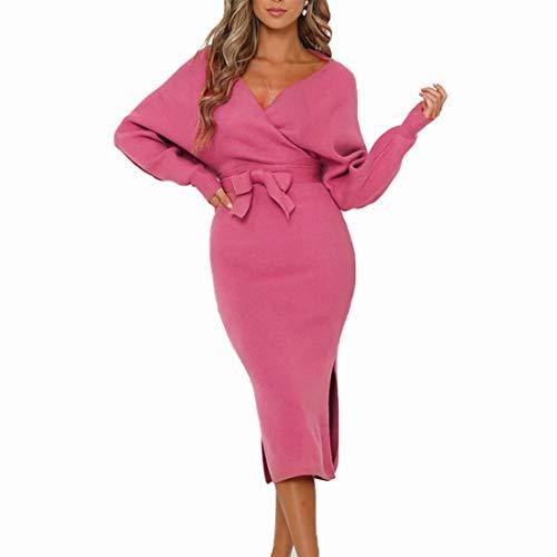 Tyidalin Pulloverkleid Damen Lang Strickkleid Elegant V-Ausschnitt Langarm Abendmode Sexy Kleid Mit Gürtel (Rosa, 38)