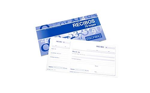 4 Talonarios de Recibos de pago en Español con 70 Hojas - Tamaño 21 x 10 cm - 1 Color Horizontal - Ideal para Taxis, Bares, Restaurantes.