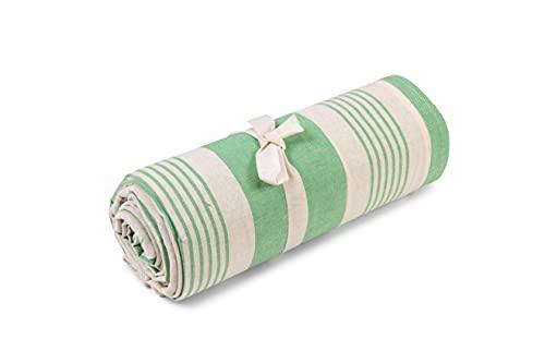 HomeLife - Tela decorativa para sofá a rayas – Sábana cubretodo multiusos de algodón – Granfoulard Colcha para cama individual [160 x 280] – Verde – Fabricado en Italia