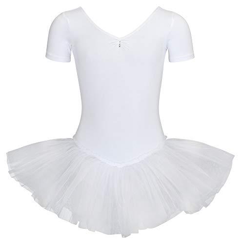 tanzmuster ® Ballettkleid Mädchen Kurzarm - Nele - (Größe 92-170) aus Baumwolle mit Glitzersteinen, Ballettbody mit Tutu in weiß, Größe 140/146