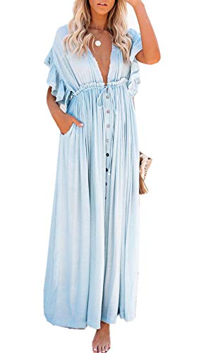ZIYYOOHY Damen Boho Bikini Cover Up Strandkleid Sommerkleid Maxikleid Chiffon - Weiß Spitze (One Size, 3018 Blau)