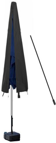 HBCOLLECTION Housse avec Tige Premium pour Parasol Droit 220cm Polyester Noir Gamme Elite